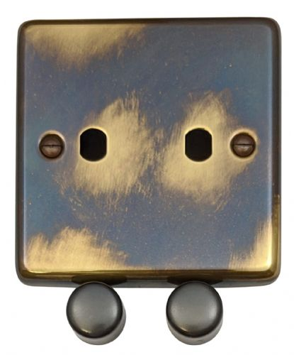 G&H CAN12-PK Standard Plate Polished Aged Brass 2 Gang Dimmer Plate Only inc Dimmer Knobs
